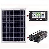 TOOGOO 18v20w Panel + 12v / 24v Controller + 1500w Inverter Ac220v Kit, Adatto A Sistema All'aperto E Casa Ac220v Solar Energy-Saving Power Generation(60a)