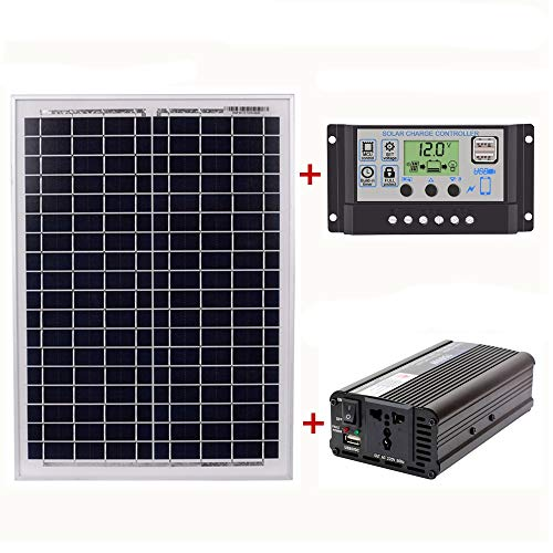 TOOGOO 18V20W Solar Panel + 12V / 24V Controller + 1500W Inverter Ac220V Kit, Geeignet für Au?en Und Haus Ac220V Energie Sparende Solar Stromer Zeugungs Anlage (60A) (Haus Solar-panel-kit)