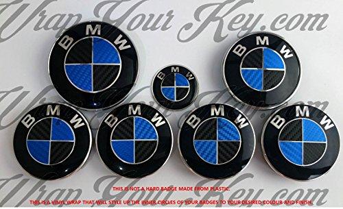 NERO E BLU FIBRA DI CARBONIO BMW Stemma Emblema per stemmi CAPPUCCIO PER CERNIERA TRONCO @FITS ALL BMW @