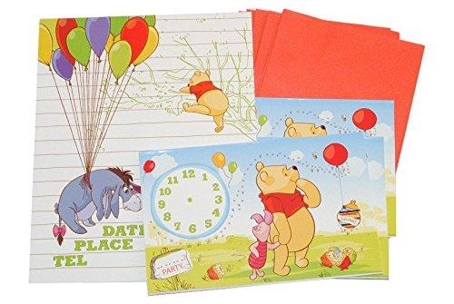 Unbekannt 12 TLG. Set Einladungskarten Winnie The Pooh + Umschlag Party Einladung Karte Bär Tigger Ferkel bunt