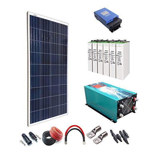 Kit solar 12V 1800W/9000W Tag Solarladeregler MPPT 60A Inverter 5000W reines Onda mit Ladegerät 80A 8topzs 1300Ah Akku -