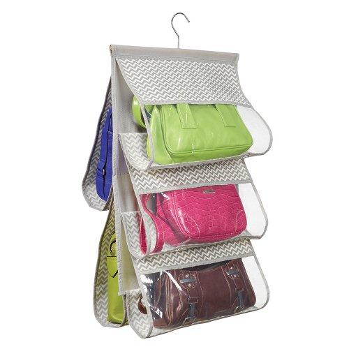 mDesign Organizzatore Guardaroba Pensile per Borsette, Borse, -5 Tasche In Tessuto, Grigio Scuro/Naturale