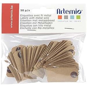 Artemio–Papier Kraft étiquettes fil W/1,9x 3,8cm–Marron