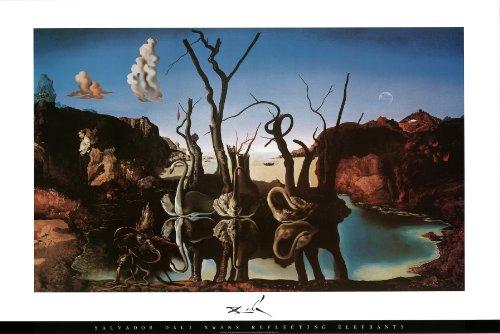 Salvador Dalí - Cisnes erolite elefantes - Póster de 36 x 60,96...