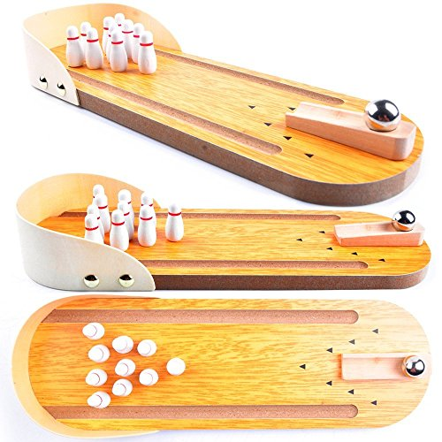 Wooden Mini Bowling Spiel Set mit Spur: Best Interactive Tabletop Bowling Game for Kids and Adults - Easy to Assemble and Play - Perfect Stress Relief Game and Party ()