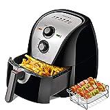 Secura 5.0 Liter Friggitrici ad aria calda 1700 Watt Fornello antiaderente senza olio con accessori, ricette, griglia per barbecue e spiedini per friggere, arrostire, grigliare, cuocere