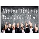 A4 XXL Dankeskarte DAUMEN HOCH mit Umschlag - edle Klappkarte