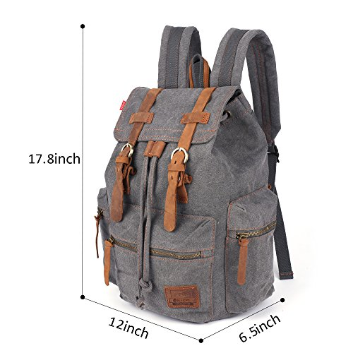Canvas Vintage Rucksäcke BESTOPE Damen Herren Schulrucksack Retro Backpack für Campus Studenten und Outdoor Reisen Wandern mit Großer Kapazität Grey