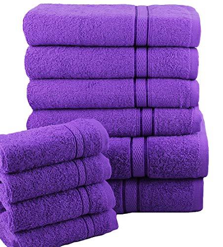Casabella Lot de 10serviettes de bain douces pour le visage, les mains, le corps, 100 % coton, violet, 10 Pieces