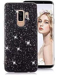 Schwarz Glitzer TPU Hülle für Galaxy S9 Plus,Strass Silikon Hülle für Galaxy S9 Plus,Moiky Luxus Ultradünnen Kristall Sparkles Überzug Weiche Gel Stoßdämpfend Schutzhülle