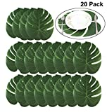 BigLion Artificielle Feuilles de Palmiers Tropicaux de Décoration Party Luau Hawaïen Jungle Beach Thème Party Décoration de table Faux Simulation Palmier Feuille 35x29 cm 20 pcs