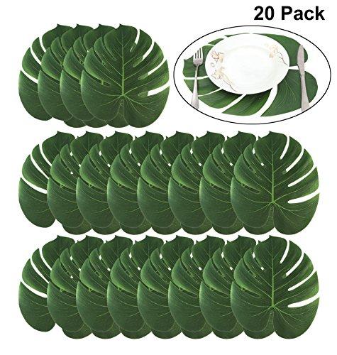 BigLion 20 Stück Hawaiian Tropical Party Dekoration Palmenblätter, Künstliche Pflanzen Blätter für Tisch Party Luau Party Dschungel Strand Thema Party Dekorationen 35x29cm