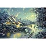 Schmidt Spiele 58453 - Puzzle, soggetto: Thomas Kinkade: Winter Moonlight, 500 pezzi