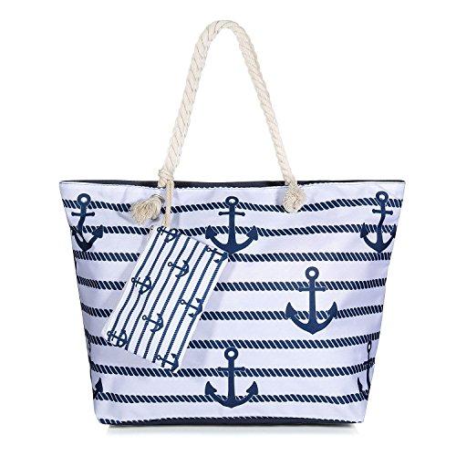 Vordas Strandtasche mit Reißverschluss XXL, Strandtasche XXL mit Reißverschluss und Innentasche für Reise, Kaufen, Ausflug usw. (Style 16)