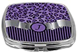 Rikki Knight Compact Mirror, Letter J Initial Purple Leopard Print And Stripes
