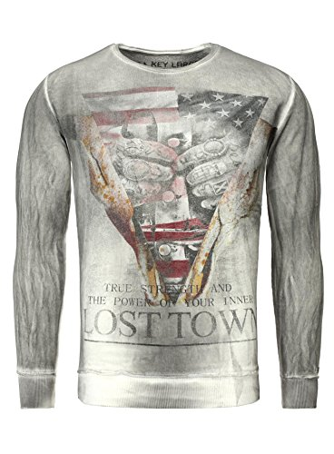 Key Largo Herren Pullover LOST TOWN Vintage Style Langarm USA Hands Tattoo Triangle Anthrazit