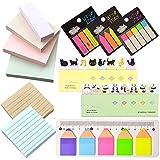 RETON Paquet de 12 Notes Autocollantes - 4 x Notes de Couleur Unie, 2 x Notes Lignées, 3 x Étiquettes pour D'index Fluorescent, 2 x Animaux Sticker Signet, 1 x Crayon Forme Bloc-notes avec 15cm Règle