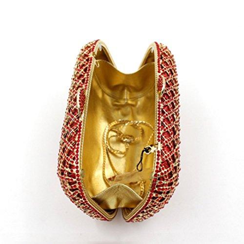 Fascia Di Diamanti Di Fascia Alta Del Sacchetto Di Sera Di Diamante Di Lusso Delle Donne Red