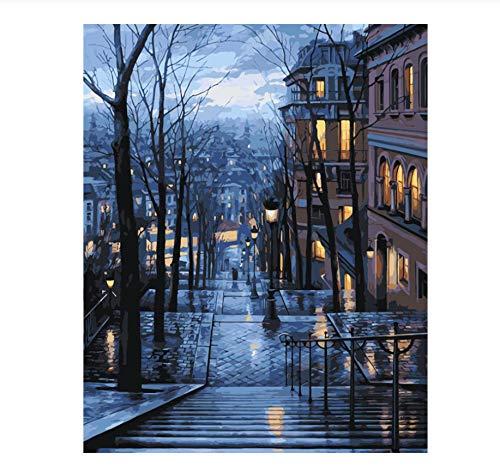 chtszenen In Der Stadt Beleuchtung Treppen Winter Landschaft Leinwandbild Acryl Malen Nach Zahlen Dekoration 40X50Cm ()