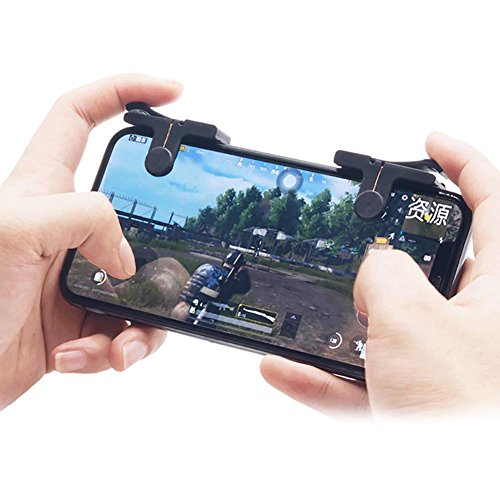 Kobwa Mobile Game Controller, Upgraded 1 Paar Sensitive Kupfer Shoot und Ziel Tasten für pubg/fortnite/Rules of Survial Fit für Android und IOS System -