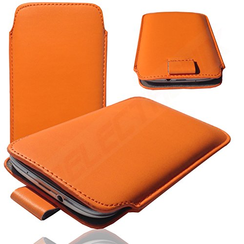 HQ ORANGE Slim Cover Case Schutz Hülle Pull UP Etui Smartphone Tasche für Siswoo i8 Panther