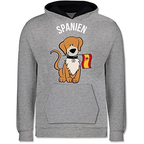Shirtracer Fußball-Europameisterschaft 2020 Kinder - Fußball Spanien Hund - 9-11 Jahre (140) - Grau meliert/Navy Blau - JH003K - Kinder Kontrast Hoodie