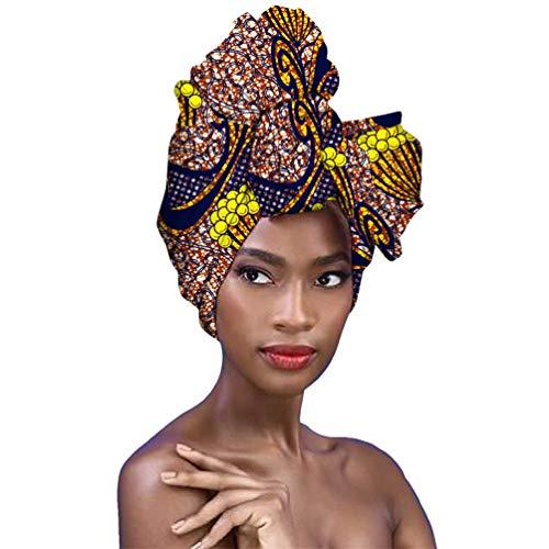 Yijinstyle Damen Wickeln Schal Boho Turban Headwears Elastische Verknotete Beanie Cap mit Afrikanischen Muster Drucken (Style#6, 90 * 110cm)