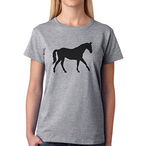 Horse Animal Pony Stud Walking Black Shadow Damen T-Shirt Grau