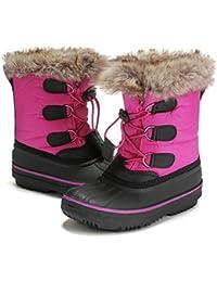 9f31439bebc15 DRKA Bottes de Neige d Enfants pour Les Tout-Petits Garçons et Filles,  Chaussures d hiver Douces Isolantes Imperméables et Chaudes en…
