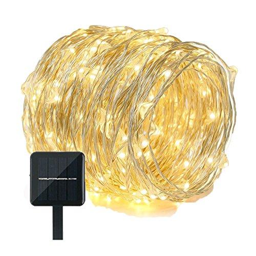 Fil de cuivre Guirlande solaire 200 LED 21,9 m étanche Fée Starry Guirlande lumineuse pour terrasse pelouse Jardin Décorations de Noël extérieures