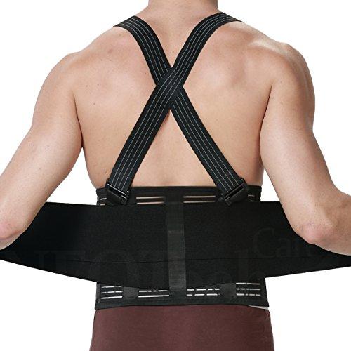 Faja para la espalda con tirantes para hombres, apoyo lumbar, cinturón de culturismo/halterofilia - Marca Neotech Care (Talla L)