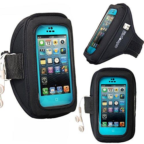 iPhone 5s /5 /5c & iPod Touch 5 /6 Otterbox / Lifeproof Armband mit Kopfhörer-Organizer und Schlüsselhalter für Otterbox Defender oder Commuter Series Oder Lifeproof Cases von Wisdompro® - Schwarz Schwarz
