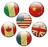 Kühlschrankmagnete Länder Magnete für Magnettafel Stark 6er Set mit Motiv Flagge groß Rund 50mm Fahne USA UK China Frankreich Italien Kanada