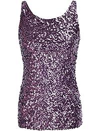 kayamiya Donna Gilet Stile Anni  Glitter Paillettes Canotta d80b9f9d24d