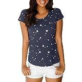 OSYARD Damen Mode Sommer Lose Kurzarm Star Printed Casual T-Shirt Bluse Tops(EU 42/L, Marine)