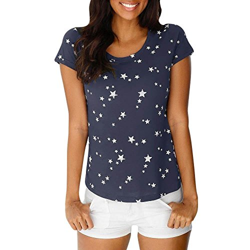 OSYARD Damen Mode Sommer Lose Kurzarm Star Printed Casual T-Shirt Bluse Tops(EU 42/L, Marine) (Großhandel Designer-kleidung)