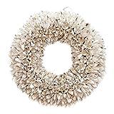 Naturkranz Deko-Kranz groß Ø 30cm in weiß, gefertigt aus Bakuli-Früchten. Türkranz zum hängen oder als Tischdekoration im Shabby chic Design, zeitloses Wohnaccessoires als Natur-Deco von Glaskönig