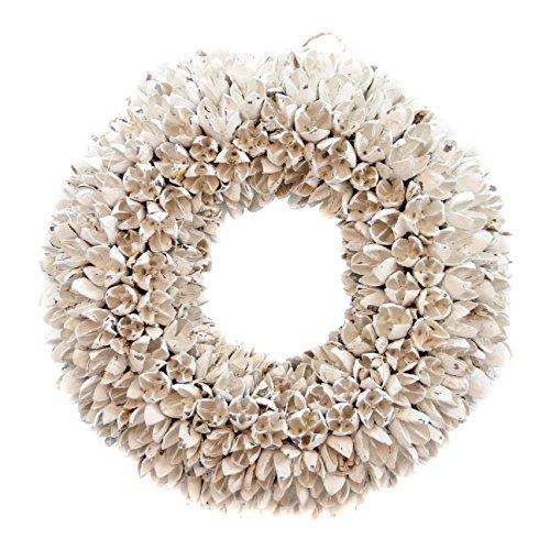 Naturkranz Deko-Kranz groß Ø 25cm in weiß, gefertigt aus Bakuli-Früchten. Türkranz zum hängen oder als Tischdekoration im Shabby chic Design, zeitloses Wohnaccessoires als Natur-Deco von Glaskönig