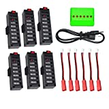 6pcs 3.7V 500mAh Batería para JY018 EACHINE E52 Wifi Mini RC Quadcopter Drone + 1 al 6 cargador + Cable de Carga - CreaTion