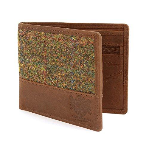 Harris Tweed Grün Tartan -Geldbörse mit Lederbesatz
