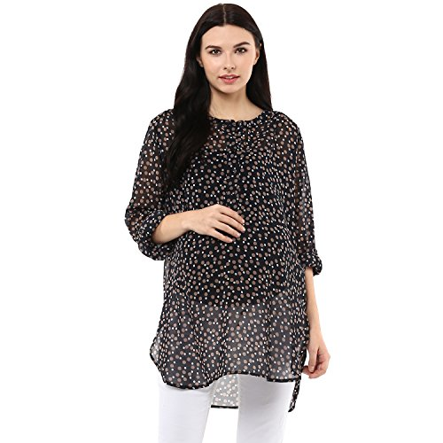 Wobbly Walk Women's Round Neck, Full Sleeves, Polka Dots, Maternity Tunic, Black