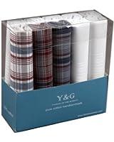 Y & G Discount Geschenkidee 10 Pack Checkers Hankies Herren Baumwoll Mit Geschenkbox MH1038 Blau / Schwarz MH1038