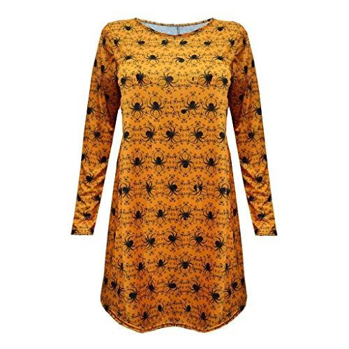 een Spinne Lange Ärmel Party Minikleid Gelb Cosplay Verkleidung Swing Tunika Falten Beiläufig Kleider T-Shirt Zum Frau Spielraum(Gelb,L) ()