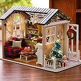 CUTEBEE Mini casa de muñecas de Madera con Muebles de Bricolaje Montaje de artesanía de casa en Miniatura Juguetes para niños y Adolescentes Tiempos de Vacaciones(Holiday Time)