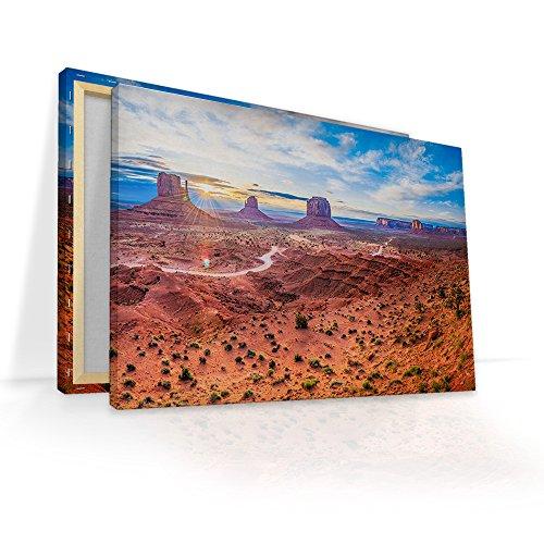malango® Leinwandbild Arizona Steine Felsen Landschaft Kunstdruck Canyon Fotoleinwand handgefertigt Wanddekoration Leinwand Foto Bild 150 x 100 cm -
