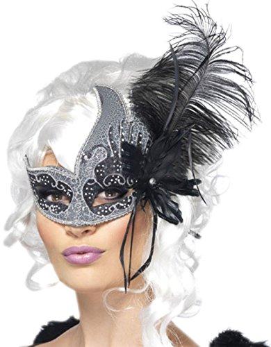 Halloweenia - Dunkler Engel Maske, Schwarz, Silber (Dunkler Engel Halloween Kostüme Make Up)