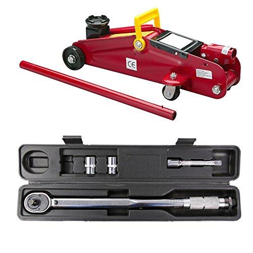 """UNITEC Hydraulicher Rangierwagenheber + Drehmomentschlüssel 1/2"""" 10-210 Nm Set KFZ Auto Wagenheber Fahrzeug Werkzeug Rangier Drehmoment Schlüssel Antrieb Vierkant"""