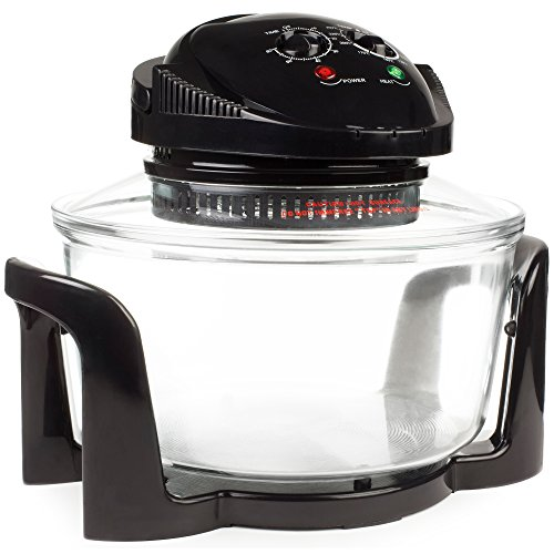 Andrew James Halogen Mini Oven – 12L Electric with Adjustable Temperature Control Timer and Accessories Pack, including 17 Litre Extender Ring – 1400W