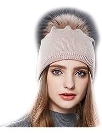 dba37ecb2a3 URSFUR Femme Chapeau Bonnet Tendance Pompon Fourrure Fille Bonnet Tricot  Jersey Laine Hiver