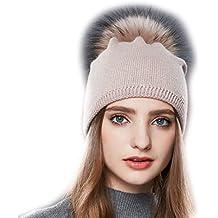 f21782e476a0 URSFUR Femme Chapeau Bonnet Tendance Pompon Fourrure Fille Bonnet Tricot  Jersey Laine Hiver
